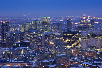 Montreal Winter Scenes Photograph - City Skyline At Dusk In Winter by Perry Mastrovito
