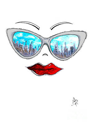 Fashion Painting - City Skyline Cat Eyes Reflection Sunglasses Aroon Melane 2015 Collection Collaboration With Madart by Megan Duncanson