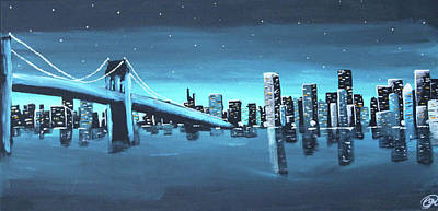 Cities Painting - City Skyline by Cyrionna The Cyerial Artist