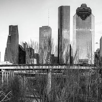 Photograph - City Skyline Downtown Houston In Black And White 1x1 by Gregory Ballos