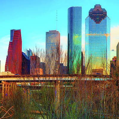 Photograph - City Skyline Downtown Houston In Color 1x1 by Gregory Ballos
