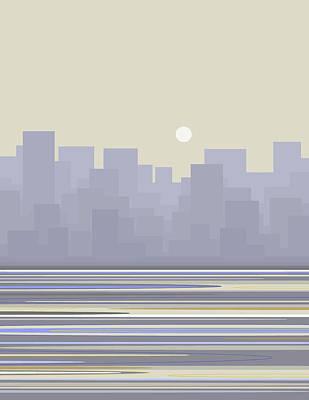 Digital Art - City Skyline Morning by Val Arie