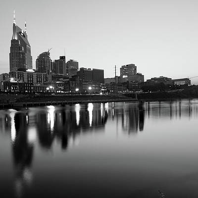 Photograph - City Skyline Of Nashville Tennessee - Square Art Black And White by Gregory Ballos