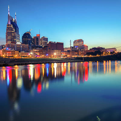 Photograph - City Skyline Of Nashville Tennessee - Square Art by Gregory Ballos