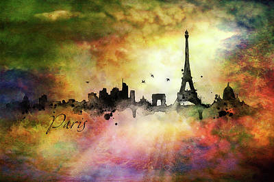 Painting - City Skyline - Paris by Lilia D