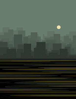 Digital Art - City Skyline by Val Arie