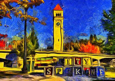 Play Mixed Media - City Spokane - Riverfront Park by Mark Kiver