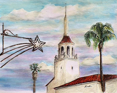 Drawing - City Stars Arlington Theater Santa Barbara by Danuta Bennett