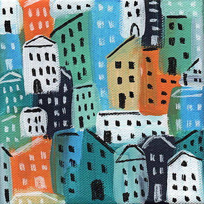 City Stories- Blue And Orange Art Print by Linda Woods