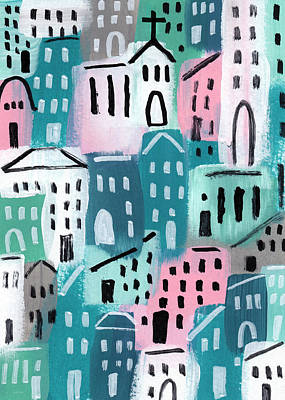 City Stories- Church On The Hill Art Print by Linda Woods