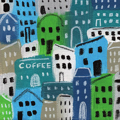 Folk Painting - City Stories- Coffee Shop by Linda Woods