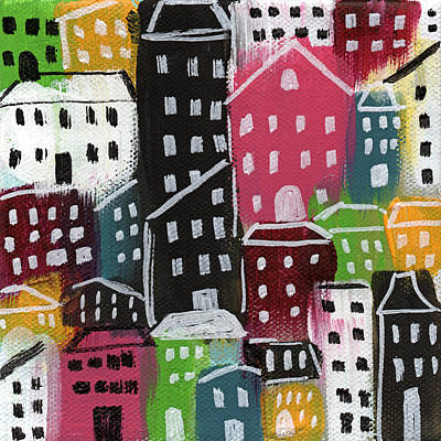 Folk Painting - City Stories- Colorful by Linda Woods