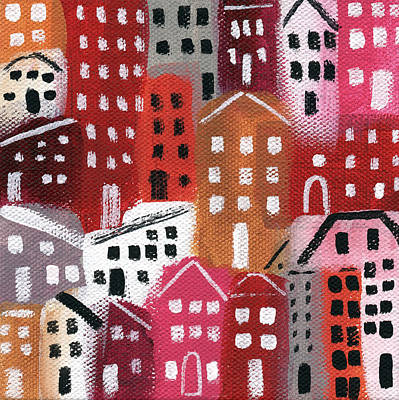 Folk Art Mixed Media - City Stories- Ruby Road by Linda Woods
