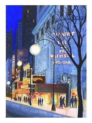City Street At Night Art Print