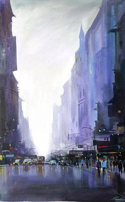 Painting - City Street At Rainy Day by Samiran Sarkar