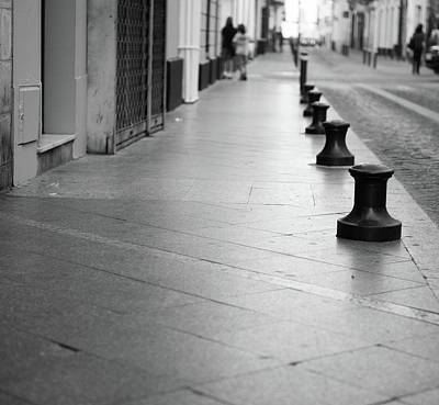Photograph - City Street Bollards by Helen Northcott