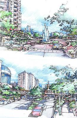 City Street Scene Art Print by Andrew Drozdowicz