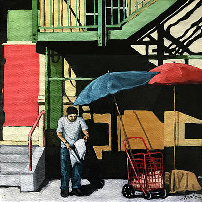 Painting - City Streets - Man On Street  by Linda Apple
