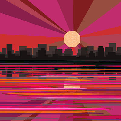 Digital Art - City Sun Rise - Pink by Val Arie