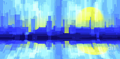 Digital Art - City Sun Silhouette by Jan Brons
