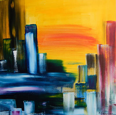 Painting - City Sunrise Contemporary Abstract Cityscape by Eliza Donovan