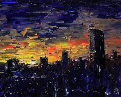 Painting - City Sunset by Burton Hanna