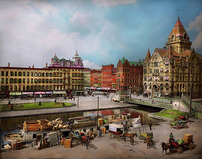 Photograph - City - Syracuse Ny - The Clinton Square Canal 1905 by Mike Savad
