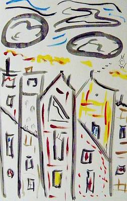 Drawing - City Tops In The Clouds by Mary Carol Williams