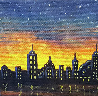 Painting - City Under The Stars 1 by JJ Long