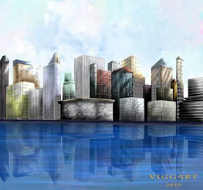 Digital Art - City by Virginia Palomeque