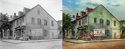 Quiet Time Corner Photograph - City- Va - C And G Grocery Store 1927 - Side By Side by Mike Savad
