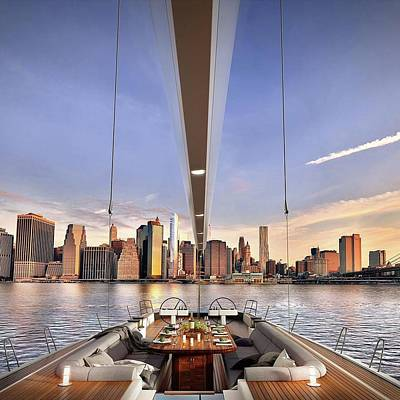 Photograph - City View By Yacht by Lori Strock