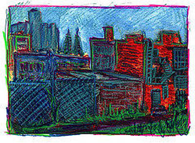 Drawing - City View From Studio by Don Thibodeaux