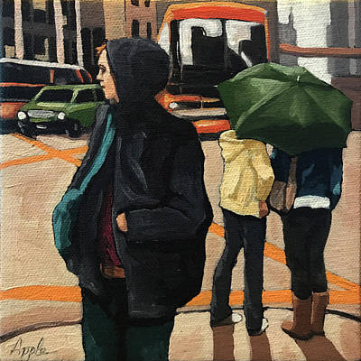 Painting - Rainy Day Walk - Women In City by Linda Apple