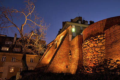 Photograph - City Wall Fortification At Night In Warsaw by Artur Bogacki