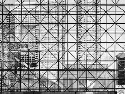 Photograph - City Windows Abstract Black And White by Marianne Campolongo