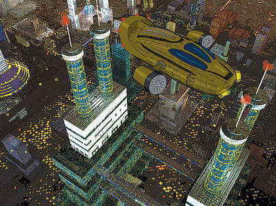 Science Fiction Drawing - Cityflight by Steve Moutray