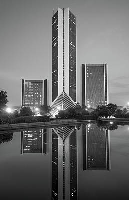 Photograph - Cityplex Towers - Tulsa Oklahoma - Black And White by Gregory Ballos