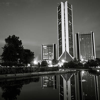 Photograph - Cityplex Towers - Tulsa Oklahoma Square Format - Black And White by Gregory Ballos