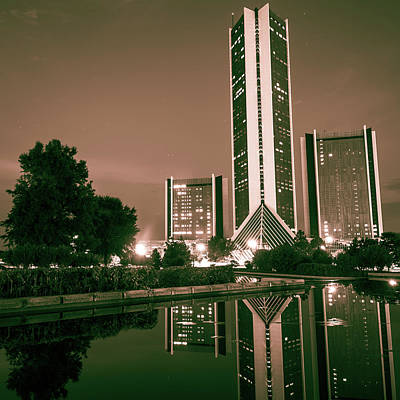 Photograph - Cityplex Towers - Tulsa Oklahoma Square Format - Sepia by Gregory Ballos