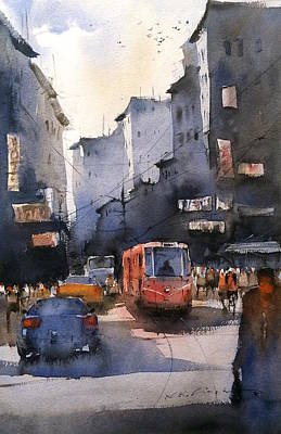 Tram Red Painting - Cityscape Art Watercolor by Nitin Singh