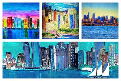 Painting - Cityscape Collage by Anne Sands