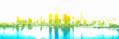 Digital Art - Cityscape Miami by Mary Clanahan