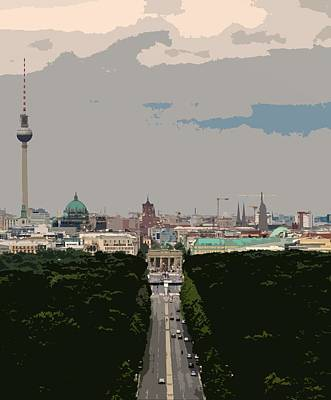 Cityscape Of Berlin - Painting Effect Art Print