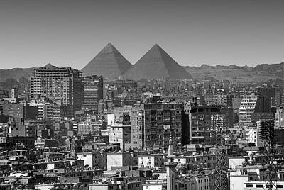 Crowd Scene Photograph - Cityscape Of Cairo, Pyramids, Egypt by Anik Messier