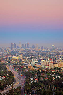 Cityscape Of Los Angeles Art Print by Eric Lo