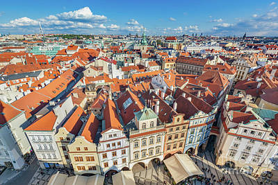 Angle Photograph - Cityscape Of Prague, Czech Republic. Traditional Red Roof Tenement Houses. by Michal Bednarek