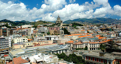 Cityscape Town Of Messina Sicily Italy Art Print by M Morina A Gurmankin