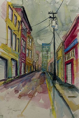 Painting - Cityscape Urbanscape Asheville Alley by Gray Artus
