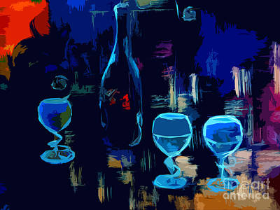 Painting - Cityscape Wine Pop Art by Lisa Kaiser